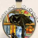 Amazing New  Black cat on bookshelf charm Unisex Pendant Silver color Necklace