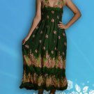 330 Boho Smock Halter Paisleys Maxi Sundress Green