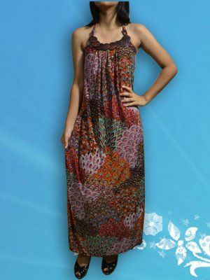 349 Red Halter Neck Paisley Peacock Printed Maxi Dress