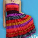 221 Boho Halter Smock Stripe Print Sundress Skirt