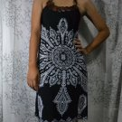 390 Black Halter Neck Polyester Paisley Printed Tunic Dress