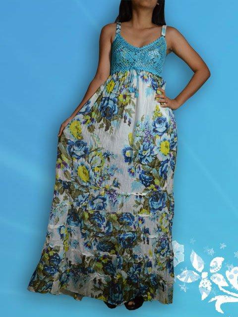 016 Casual Boho Bust Crochet Crinkle Floral Print Maxi dress