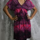 398 Paisley V-Neckline Polyester Kimono Kaftan Caftan Cover-up Tunic Dress Top