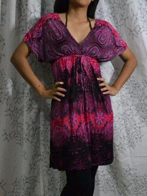 398 Paisley V-Neckline Polyester Kimono Kaftan Caftan Cover-up Tunic Dress Top