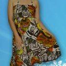 078 Boho Multi-color Animal Print Halter Smock Sundress Top Blouse