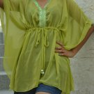 642 Light Green Chiffon Caftan Kaftan Kimono Tunic Cover-ups Top XL