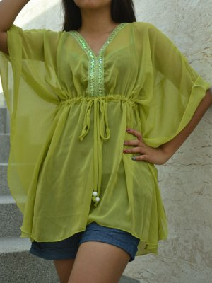 642 Light Green Chiffon Caftan Kaftan Kimono Tunic Cover-ups Top XL
