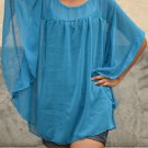 733 Blue Chiffon Round neckline Kaftan Caftan Kimono Tunic Top