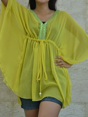 800 Yellow Chiffon Caftan Kaftan Kimono Tunic Cover-ups Top XL