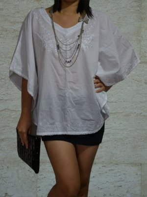 206 White solid V-Neck Embroidery Kaftan Tunic Top Blouse Cotton S M L XL