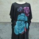 850 Floral Print V-Neckline Polyester Kimono Kaftan Caftan Cover-up Tunic Top