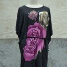851 Floral Print V-Neckline Polyester Kimono Kaftan Caftan Cover-up Tunic Top