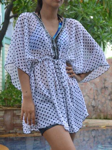 3006 White Polka dot Chiffon Caftan Kaftan Kimono Tunic Cover-ups Top XL