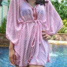 3010 Red Stripe Print Chiffon Caftan Kaftan Kimono Tunic Cover-ups Top XL