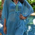 3011 Blue Stripe Print Chiffon Caftan Kaftan Kimono Tunic Cover-ups Top XL