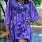 3012 Purple Stripe Print Chiffon Caftan Kaftan Kimono Tunic Cover-ups Top XL