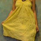 7009 Boho Yellow Halter Buckle Summer Beach Sundress Top