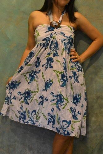 7010 Boho Blue Floral Print Halter Buckle Summer Beach Sundress Top