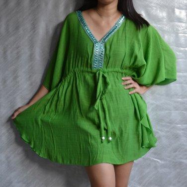 3018 Green Caftan Kaftan Kimono Tunic Cover-ups Top XL