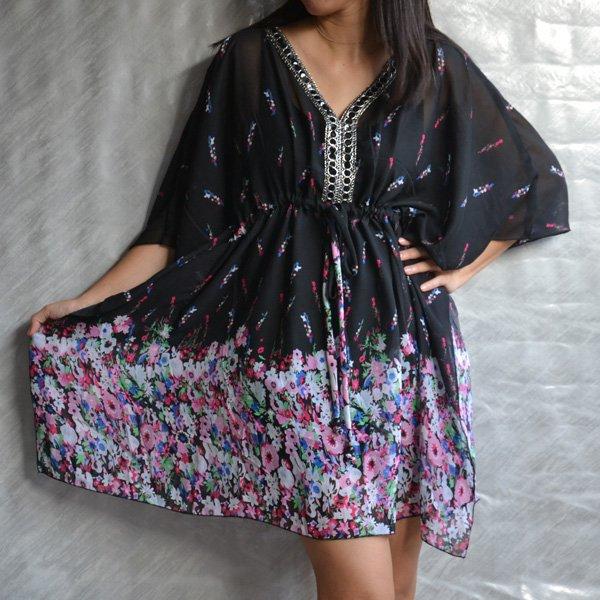 3024 Chiffon Caftan Kaftan Kimono Tunic Cover-ups Top XL
