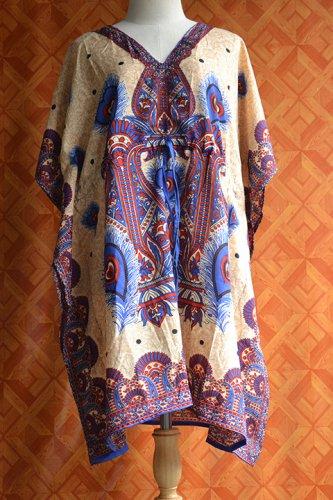 1096 Vintage Kaftan Caftan Tunic Kimono V-Neck Top Blouse Dress M L XL