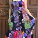 TD002 Boho Tie dye Crinkle Multi-color Floral Print Smock Sun dress XS S M L