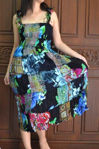 TD007 Boho Tie dye Crinkle Multi-color Floral Print Smock Sun dress XS S M L