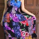 TD013 Boho Tie dye Crinkle Multi-color Floral Print Smock Sun dress XS S M L