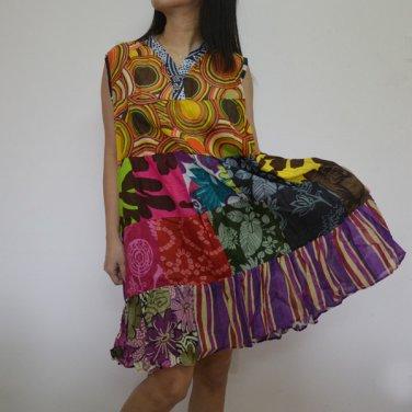 PW04 Multi-colors Patchwork Dress Top Tunic S M L