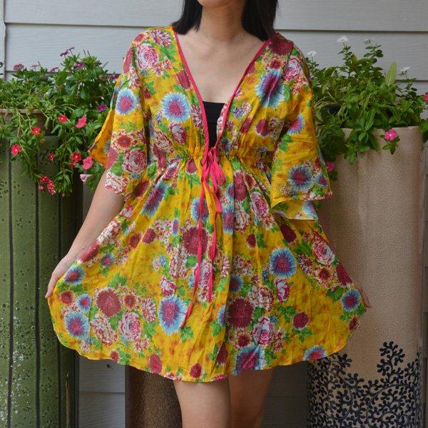 302 Boho Floral Caftan Kaftan Kimono Tunic Cover-ups Dress Top Blouse