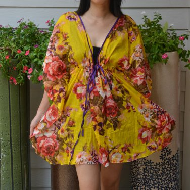 304 Boho Floral Caftan Kaftan Kimono Tunic Cover-ups Dress Top Blouse