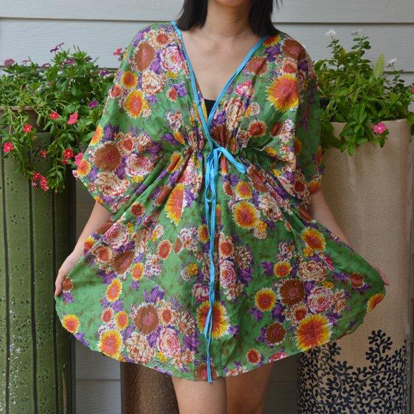 303 Boho Floral Caftan Kaftan Kimono Tunic Cover-ups Dress Top Blouse