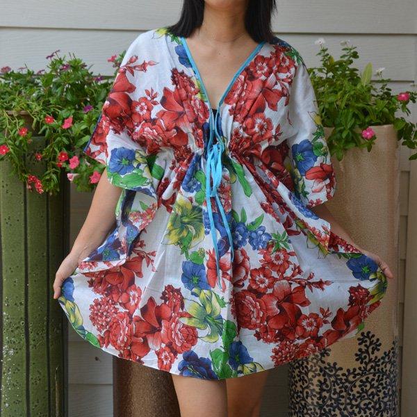 306 Boho Floral Caftan Kaftan Kimono Tunic Cover-ups Dress Top Blouse