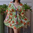 312 Boho Floral Caftan Kaftan Kimono Tunic Cover-ups Dress Top Blouse
