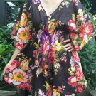 NOK01 Boho Floral Caftan Kaftan Kimono Tunic Cover-ups Dress Top Blouse