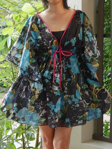NOK04 Boho Floral Caftan Kaftan Kimono Tunic Cover-ups Dress Top Blouse
