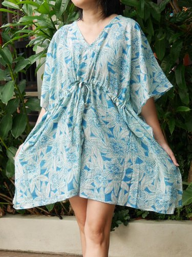 V02 Cotton Floral Caftan Kaftan Kimono Tunic Cover-ups Dress Top Blouse M L XL