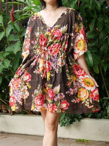 V04 Cotton Floral Caftan Kaftan Kimono Tunic Cover-ups Dress Top Blouse M L XL
