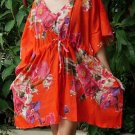 V05 Cotton Floral Caftan Kaftan Kimono Tunic Cover-ups Dress Top Blouse M L XL