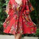 V06 Cotton Floral Caftan Kaftan Kimono Tunic Cover-ups Dress Top Blouse M L XL
