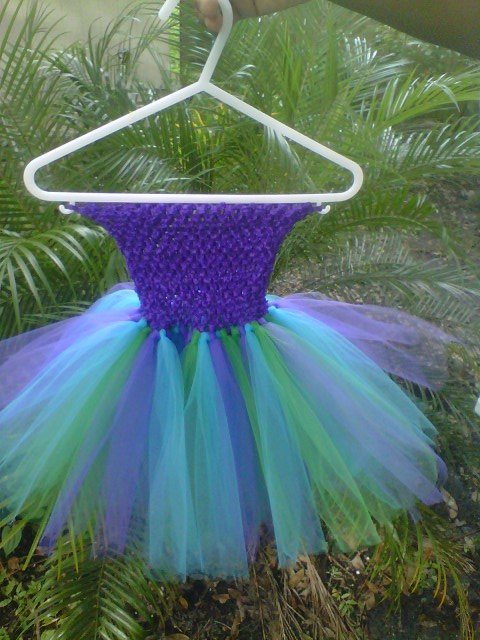 HANDMADE PEACOCK COLOR TUTU DRESS   SIZE  0MTHS TO 6X GIRL  EASTER SPECIAL $20.75