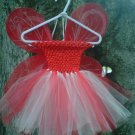 HANDMADE RED/ IVORY TUTU DRESS W/ WINGS