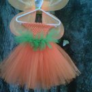 HANDMADE  PUMPKIN  COLOR TUTU DRESS  W/WINGS