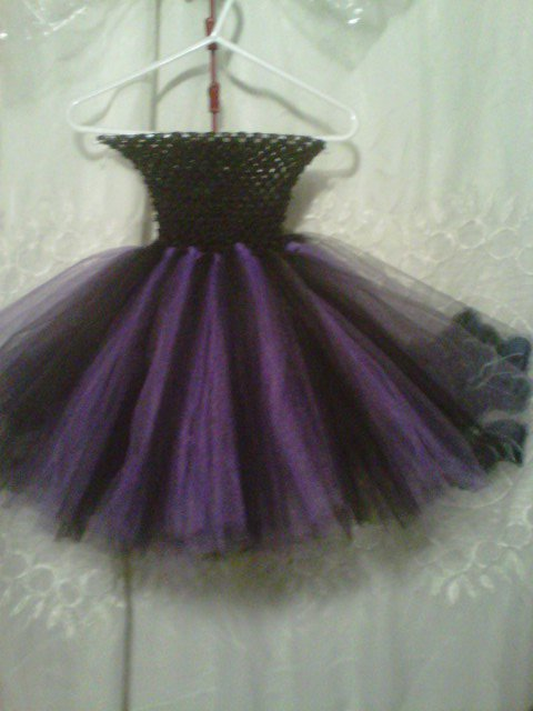 HANDMADE PURPLE/ BLACK WITCH TUTU DRESS