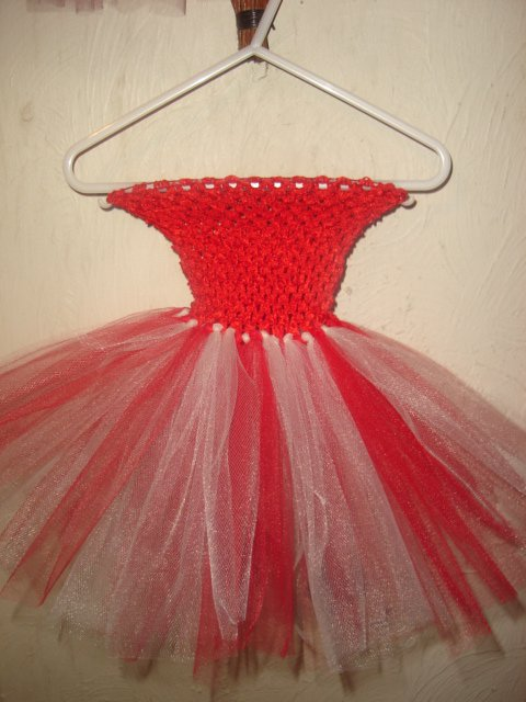 HANDMADE RED IVORY TUTU DRESS