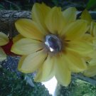 handmade   yellow  flower w/ rhinestone