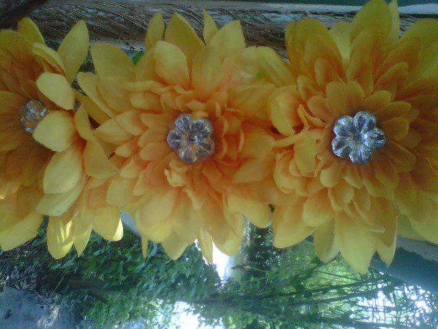 handmade   yellow / orange  flower w/ rhinestone hair clip