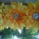 handmade   yellow / orange  flower w/ rhinestone hair clip