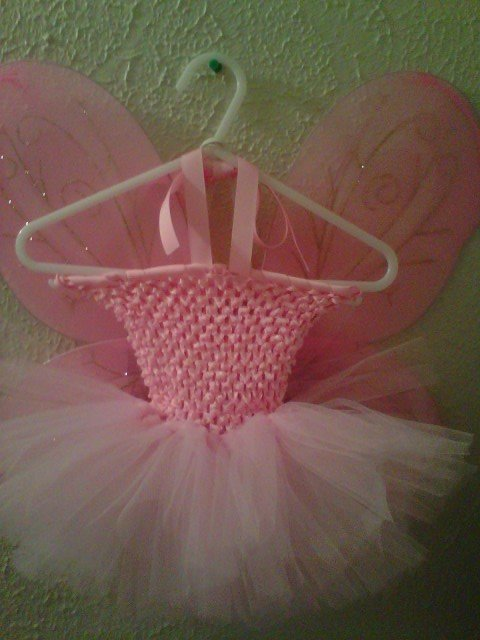 HANDMADE  PINK TUTU  DRESS W/WINGS  SIZE 6MONTHS TO T0 6X GIRL
