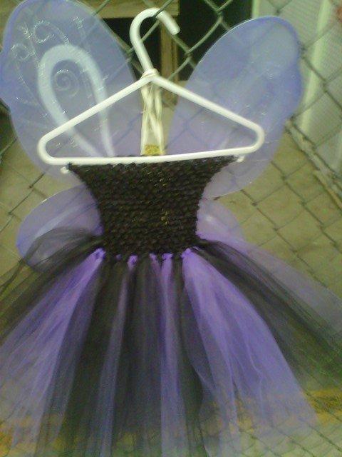 HANDMADE  ( WITCH  OR  CAT  COLORS)  PURPLE / BLACK TUTU DRESS W/ WINGS